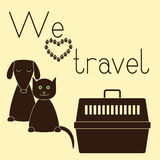 Dog, cat and pet carrier Stock Image
