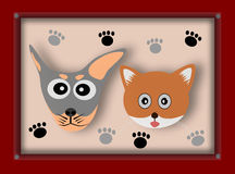 Dog and Cat in picture frame Stock Photo