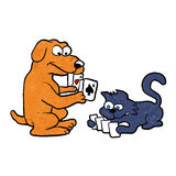 Dog and cat playing cards. Vector illustration royalty free illustration