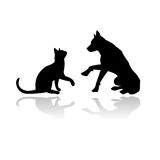 Dog and cat playing together vector illustration