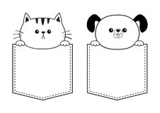 Dog cat in the pocket holding hands. Doodle contour linear sketch. Cute cartoon animals. Kitten kitty character. Dash line. Pet an Royalty Free Stock Photography