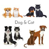 Dog and cat promotional poster with grown animal and babies. Adorable puppies and kittens of pure breeds isolated cartoon flat vector illustrations set Stock Image