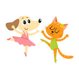 Dog and cat, puppy and kitten characters dancing ballet together Royalty Free Stock Photos
