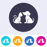 Dog and cat round buttons Stock Photography