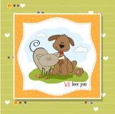 Dog & cat's friendship stock illustration