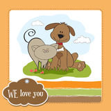 Dog & cat's friendship Stock Images
