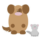Dog and Cat Sad. Funny cartoon sad dog and his cat friend Stock Images