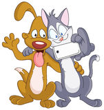 Dog and cat selfie. Dog and cat taking a selfie, self portrait picture, with a smart phone Stock Photos