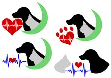 Dog and cat silhouette with Electrocardiogram Royalty Free Stock Image