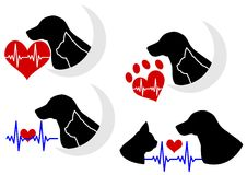 Dog and cat silhouette with Electrocardiogram Royalty Free Stock Images