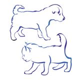 Dog and cat silhouette vector illustration sketch Stock Image