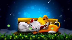 Dog and cat are sleeping on the bench together, and beautiful fireflies in the night ,best loop video background to put a baby to