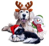 A dog, a cat and a snowman. Watercolor painting Royalty Free Stock Images