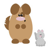 Dog and Cat Surprised. Funny cartoon surprised dog and his cat friend Stock Photography