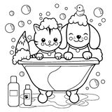 Dog and cat taking a bath. Coloring book page. A dog and a cat in a tub taking a bubble bath. Black and white coloring page illustration royalty free illustration