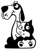 Dog and cat together Stock Images