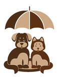 Dog and cat under umbrella. Emblem dog and cat under umbrella Stock Images