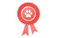 Dog or cat winning award, prize, medal or badge with ribbons. 3D Stock Photo