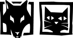 Dog and Cat. Woodcut style image or icons of a dog and and cat royalty free illustration