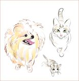 Dog and cats. Freehand illustration of dog and cats Royalty Free Stock Photography