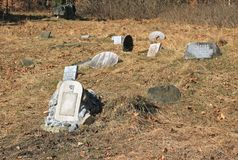 Dog cemetery. Some headstones on the cemetery for hunting dogs on Zdar Hill, Beskydy mountains, Czech Republic Royalty Free Stock Images