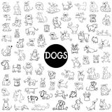 Dog characters big set. Black and White Cartoon Illustration of Dogs Pet Animal Characters Big Set Stock Photography