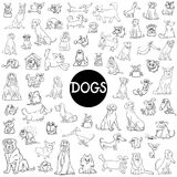 Dog characters large collection. Black and White Cartoon Illustration of Dogs Pet Animal Characters Big Collection Royalty Free Stock Photos