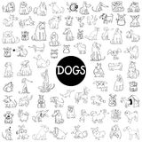 Dog characters large set. Black and White Cartoon Illustration of Dogs Pet Animal Characters Large Set Stock Images