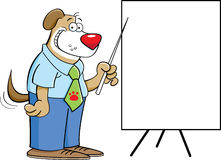 Dog with a chart. Cartoon illustration of a dog pointing to a chart Royalty Free Stock Photos