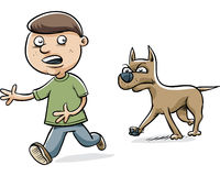 Dog Chasing Boy Royalty Free Stock Photos