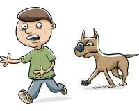 Dog Chasing Boy. A serious cartoon dog stalks a young boy Royalty Free Stock Photos
