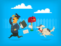 Dog chasing a mailman. Illustration. Dog is chasing a mailman along the fence. The mailman is loosing letters from postman bag Stock Photo