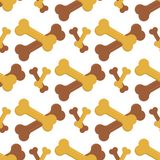 Dog chew bone care biscuit animal food puppy canine seamless pattern background vector illustration. Healthy care nutritio, play design Stock Images