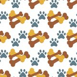 Dog chew bone care biscuit animal food puppy canine seamless pattern background vector illustration. Healthy care nutritio, play design Royalty Free Stock Image