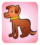 Dog children's drawing. Happy brown dog with yellow colllar on the pink backround Royalty Free Stock Images