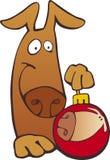 Dog with christmas ball Stock Image