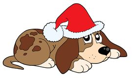 Dog in Christmas cap vector Stock Images