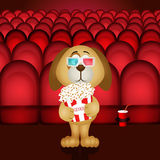 Dog at cinema with popcorn and sunglasses 3d Royalty Free Stock Photo