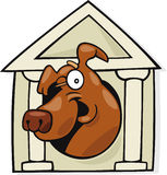 Dog in classic doghouse Stock Images