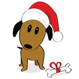 Dog claus. Cartoon illustration of a dog wearing a Santa Claus hat Royalty Free Stock Image