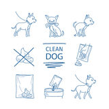 Dog clean up poop icons Royalty Free Stock Photo