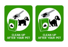 Dog clean up signs. Two signs instructing dog owners to clean up after their pet Royalty Free Stock Images
