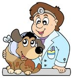 Dog with collar at veterinarian. Illustration Royalty Free Stock Image