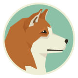 Dog collection Akita Inu Geometric style icon round vector illustration