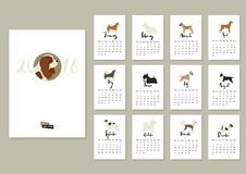 Dog collection Calendar Cover with Cavalier king charles spaniel Royalty Free Stock Photography