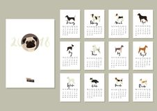 Dog collection Calendar Cover with Pug and other dogs Months of. The year Calligraphy set Royalty Free Stock Photo