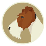 Dog collection Fox Terrier Geometric style icon round. Set royalty free illustration
