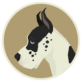 Dog collection Great Dane Geometric style Avatar icon round. Frame Stock Photo