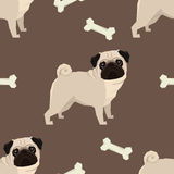 Dog collection Pug Geometric style Seamless pattern. Brown background Royalty Free Stock Photo