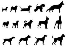 Dog collection. Silhouette of dogs. Stock Images